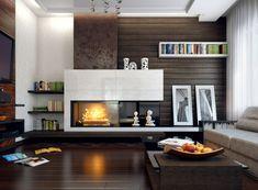 salón moderno con pared preciosa