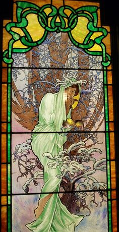"Mucha ""Winter"" stained glass window"