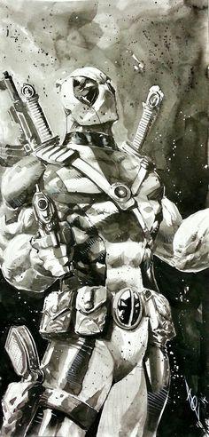 """Ink wash test"" Deadpool by Alan Quah * Comic Book Characters, Comic Book Heroes, Marvel Characters, Comic Character, Comic Books Art, Comic Art, Marvel Comics, Hq Marvel, Bd Comics"