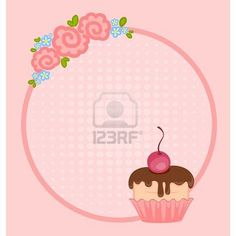 Vector valentine`s day frame with sweet cupcake for design Stock Photo