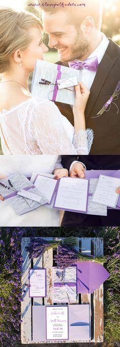 Provence Lavender Wedding Inspiration - Romantic Lavender Lace Invitation #weddingideas #lavender #provence