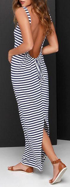 O'Neill Paris Navy Blue and Ivory Striped Maxi Dress