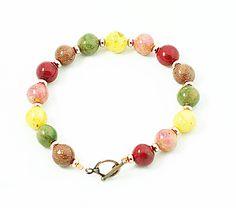 Wedding Flowers Memory Bracelet, Memory Beads Dried Flowers, Romantic Polymer Clay  Bracelet