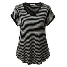LE3NO Womens Lightweight V Neck Striped Loose Tee ($17) ❤ liked on Polyvore featuring tops, t-shirts, loose fitting t shirts, lightweight t shirts, stripe t shirt, loose fit t shirts and v neck tee