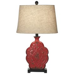 Distressed Red Medallion Table Lamp