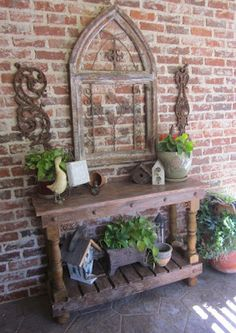 Patio Decor - I am making this!  DH is making the table for me and I have a mirror frame (w/o the mirror) to use.  alk