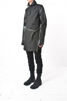 boris bidjan saberi - belted military trench w/ gloved pig leather sleeves — re. porter