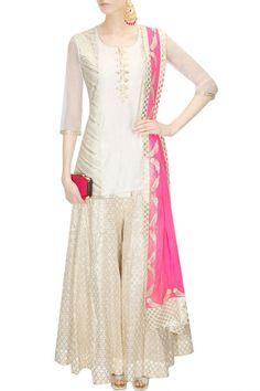 Amrita Thakur presents Ivory gota patti work chanderi kurta sharara set available only at Pernia's Pop Up Shop. Designer Kurtis, Designer Dresses, Designer Sarees, Pakistani Outfits, Indian Outfits, Western Outfits, Indian Attire, Indian Wear, Robe Anarkali