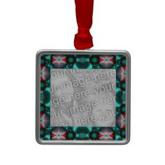 Add your own photo to Bright teal red pattern design Christmas tree ornaments