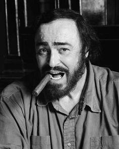Luciano Pavarotti|luciano| pavarotti| singer| man| sitting| smoking| cigar| opera