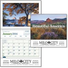 """Beautiful America Pocket Calendar Item #AUOEC-HKADV This popular, affordable scenic pocket calendar is ideal for any advertising message. The full-color photographs and handy pocket make a useful, appreciated combination. 2016 Calendar. Reverse collated for storing items all year. 8"""" W x 13"""" H"""