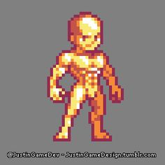 """""""I made one of those naked big-headed muscular bald guys you see in Only mine's better, because he's gold. Game Character Design, Game Design, Character Art, Nail Bat, Sprites, 8 Bit Art, Pixel Art Games, Perler Bead Art, Creature Design"""