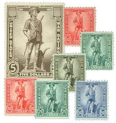 The complete set of seven WWII War Savings Stamps.
