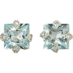 Cathy Waterman Diamond & Aquamarine Stud Earrings for my something blue Aquamarine Jewelry, Crystal Jewelry, Crystal Earrings, Jewelry Accessories, Jewelry Design, Chanel, Turquoise, Diamond Studs, Designer Earrings