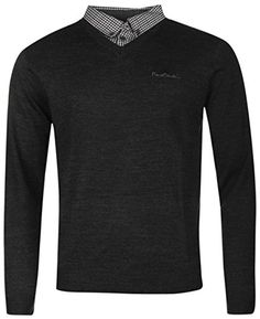 Mens Jumpers, Pierre Cardin, Perfect Fit, Knitwear, V Neck, Pullover, Glove, Casual, Charcoal