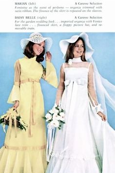 In France, two women or two men can now get married! years ago, homosexuality was still qualified as a disease) Caresse Bridal Gowns advertisement, 1970 Vintage Wedding Photos, Vintage Bridal, Vintage Weddings, Vintage Ads, Bridal Gowns, Wedding Gowns, 1980s Wedding, Formal Wedding, Got Married
