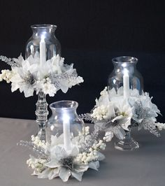 Fabulous christmas centerpieces ideas anyone can make 13 Dollar Tree Centerpieces, Winter Centerpieces, Dollar Tree Decor, Dollar Tree Crafts, Centerpiece Decorations, Quinceanera Centerpieces, Candle Centerpieces, Wedding Centerpieces, Dollar Tree Christmas
