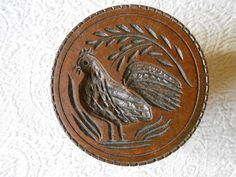 """Antique Americana Wooden Rooster Butter Stamp. Hand Carved. Ex-cond. 4 3/8""""      Sold  Ebay   470.00"""