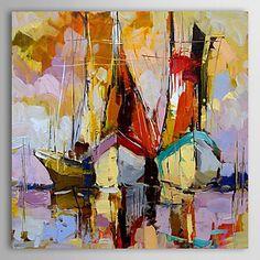 Huile+peinte+à+la+main+peinture+de+paysage+peint+Thicked+Bateau+à+voile+avec+cadre+étiré+–+EUR+€+90.90