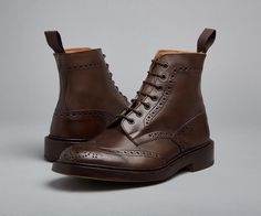 Stow Country Boot - Tricker's handmade heavy brogue 7-eyelet Derby ankle boot with half bellows tongue and storm welt in Espresso, with leather uppers, leather linings. Available in a choice of double leather stitched sole or Dainite rubber sole.  STYLE NO. 3634/5 LAST 4497S