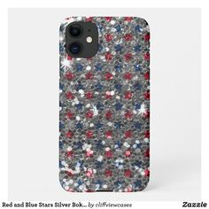 Red and Blue Stars Silver Bokeh Glitter iPhone 11 Case Independence Day Holiday, Online Gifts, Dog Design, Bokeh, Silver Glitter, Iphone 11, Overlays, 4th Of July, Red And Blue