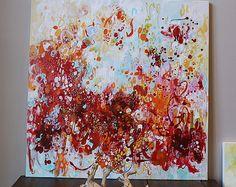 Pintura de acrílico, acrílico pintura abstracta, arte abstracto, paisaje abstracto, pintura abstracta grande, rojo pintura abstracta, modean