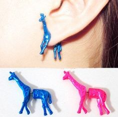 1 Pair 3D Giraffe Ear Stud Earrings Neon Colors... not sure if I would wear these, but they certainly are different!