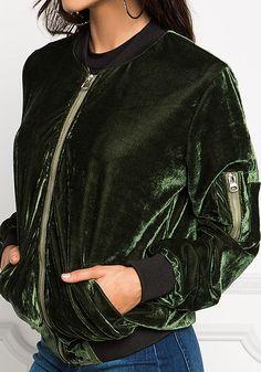 Olive Velvet Bomber Jacket