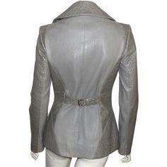 depot vente de luxe en ligne JEAN CLAUDE JITROIS veste en cuir d'autruche gris vert - On sale eshop luxe www.tendanceshopping.com