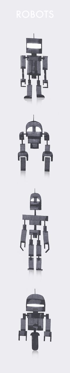 Robots de Andrew Fox https://www.behance.net/afox