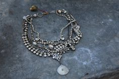This is a wonderful collection of yummy vintage rhinestone pieces mixed with natural stones. Victorian watch chain adds a touch of brass this collection