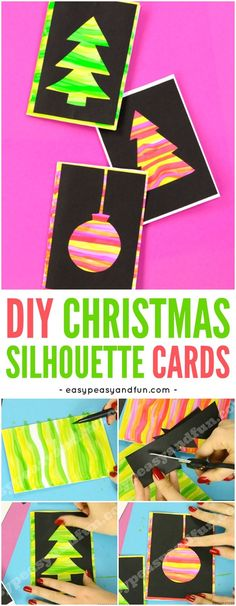 DIY Silhouette Christmas Cards, DIY and Crafts, DIY Silhouette Christmas Card Ideas for Kids to Make. Fun Christmas craft activity for kids to do. Christmas Crafts For Kids To Make, Christmas Card Crafts, Noel Christmas, Xmas Cards, Handmade Christmas, Holiday Crafts, Christmas Card Ideas With Kids, Christmas Decorations For Kids, Kids Crafts