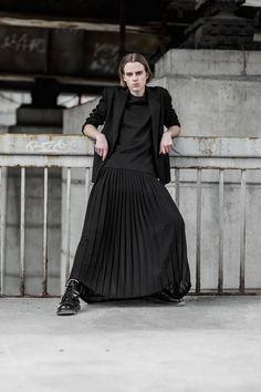 [Gvidas] by wdx on DeviantArt Queer Fashion, Androgynous Fashion, Dark Fashion, Mens Fashion, Guys In Skirts, Boys Wearing Skirts, Mode Alternative, Man Skirt, Style Masculin