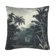 Printed Jungle Cushion Tropical prints are on trend this season and now you're able to incorporate it into your living space. This jungle-inspired Custom Wallpaper, Of Wallpaper, The Cool Republic, Jungle Scene, Rockett St George, Cleaning Walls, Jungle Print, Printed Cushions, Interiors