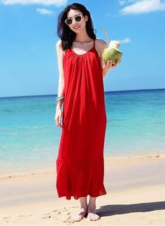 Red summer dress maxi