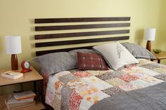 Simple headboard - could be done with mini-blind slats