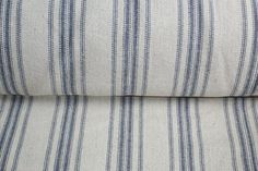 Farmhouse Fabric By Yard Grain Sack Continuous Cut Upholstery Weight Feedsack Striped Blue or Red or Tan Ticking Fabric 54 inches wide Farmhouse Style Curtains, Farmhouse Fabric, Rustic Farmhouse, Farmhouse Ideas, Ticking Fabric, Country Living Magazine, Grain Sack, Feed Sacks, Furniture Upholstery