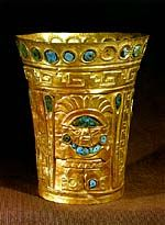 """Inca gold and turquoise vase. For the Inca, gold, was said to be the """"sweat of the sun"""" and silver, """"tears of the moon"""""""