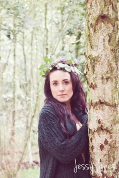 Girl in woods with flower crown
