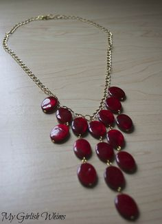 DIY Red Statement Necklace | My Girlish Whims