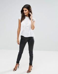 Zibi London | Zibi London Pep Hem Top With Lace Trim