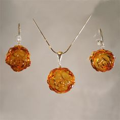 Carved Honey Color Baltic Amber Rose Set of Earrings and Pendant from Lithuania