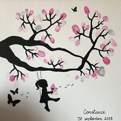 guest book - tree tree prints on a cotton 40 x 40 cm to 60 Craft Gifts, Diy Gifts, Valentine Drawing, Diy Clothes And Shoes, 3d Tree, Guest Book Tree, Wall Decor Design, Arts And Crafts, Paper Crafts