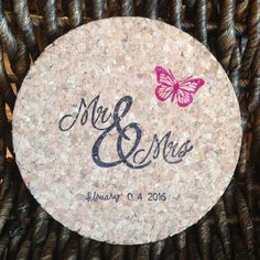 50 Wedding Favor Coasters, Mr. & Mrs. Cork Coasters, Butterfly Coasters, Round Stamped Cork Coasters, Custom Wedding Favors by KaraShareeCollection on Etsy