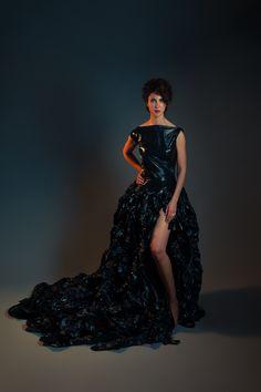 Trash bag dress... ugly, beautiful.