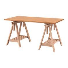 IKEA - GERTON / FINNVARD, Stół, , Lite drewno to trwały, naturalny materiał.Nawiercone otwory na nogi ułatwiają montaż.Regulując kozła można wybrać płaski lub pochylony blat stołu, co jest korzystne przy pisaniu, malowaniu lub rysowaniu.Na półce pod spodem jest mnóstwo miejsca na drukarkę, książki lub dokumenty. Dzięki temu zyskasz na blacie więcej miejsca do pracy.