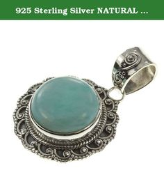 """925 Sterling Silver NATURAL LARIMAR Pendant, 1 2/4"""". BeadsTreasury Product Description BeadsTreasury provides our customer with high quality handcrafted jewerly in affordable price. Most of our jewelry are handcrafted, thus every pieces of jewelry is UNIQUE. This 15MM NATURAL LARIMAR gemstone is crafted in 925 Sterling Silver Pendant. Its weight is 7.50g. What is 925 Sterling Silver? 925 Sterling Silver jewelry is composed with 92.5 percent silver and 7.5 percent copper. It is found to be..."""