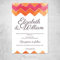 Simple and to the point  Chevron Wedding Invitation - Hot Pink and Orange Wedding - Watercolor Wedding Invitation - Printable Wedding Invitation - Eclectic Wedding by soumyasinvitations on Etsy https://www.etsy.com/listing/190507054/chevron-wedding-invitation-hot-pink-and