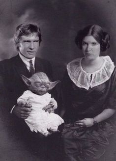 Princess Leia and Han Solo and his little and cute baby .hahaha.