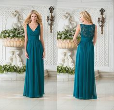 2015 Cheap Jasmine Vintage V Neck Teal Green Chiffon Plus Size Long Bridesmaid Dresses A Line Lace Hollow Back Bridesmaid Gowns DL1314147 Online with $77.44/Piece on Weddingmuse's Store | DHgate.com
